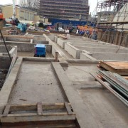 Murform, Formwork, Rebar, Concrete, basement construction, lift pits, walls, up stands, attached piers, capping beams, formwork contractor